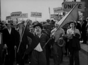 The Tramp accidentally leads a socialist march