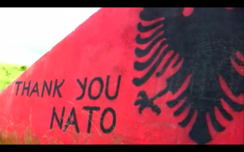 Kosovo Rebels Thanking NATO