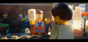 Emmet is thrilled to purchase overpriced coffee. An example of the film's attack on consumerism